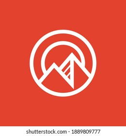 Minimalist Mountain with Sun inside A Circle Logo