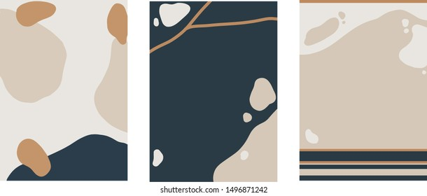 Minimalist nature layout design, flat scenery postcard,nordic scandinavian design,poster set of 3 pebbles riverbed brown blue beige with space for type