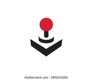 A minimalist negative space joystick logo design.