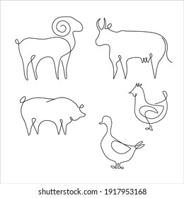 Minimalist One Line Animals Set. Line drawing tattoo. Farm animals one line hand drawing continuous, Vector Illustration. Free single line drawing of farm animals, cow, chicken, duck, goose, pig, ram