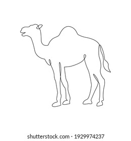 Minimalist One Line Camel Icon. Line drawing animal tattoo. Arabic Camel one line hand drawing continuous art print, Vector Illustration. Free single line drawing of camel