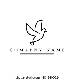 minimalist outline flying dove logo template in white background. modern flying dove logo. dove logo design for fashion and company