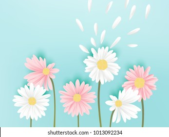 Minimalist pastel white and pink daisy flowers with flying petals on blue background