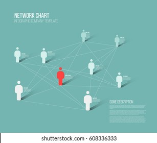 Minimalist people network 3d diagram template