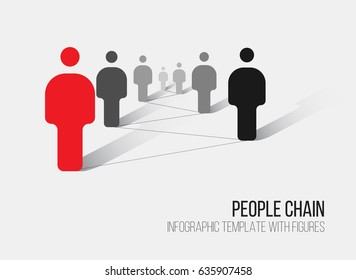 Minimalist people network 3d diagram template  - white version