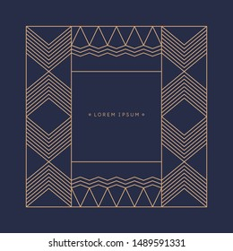 Minimalist postcard for text. Vector geometric illustration with gold lines.