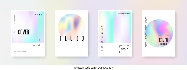 Minimalist poster set. Abstract backgrounds. Colorful minimalist poster with gradient mesh. 90s, 80s retro style. Iridescent graphic template for placard, presentation, banner, brochure.
