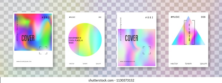 Minimalist poster set. Abstract backgrounds. Futuristic minimalist poster with gradient mesh. 90s, 80s retro style. Pearlescent graphic template for book, annual, mobile interface, web app.