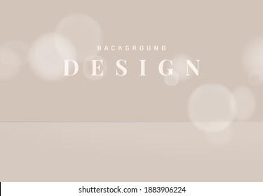 Minimalist product display mockup design, circle bokeh on bright nude brown background
