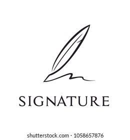 Minimalist Quill Pen Signature logo design inspiration