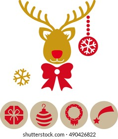 Minimalist reindeer with various Christmas icons
