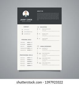 Minimalist resume / CV template design, a combination of black and white looks elegant - Vector