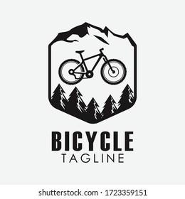 Minimalist retro bicycle, mountain bike, downhill sport logo design vector template