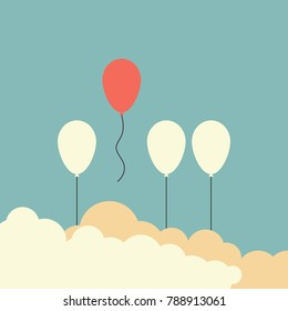Minimalist retro stile. Stand out from the crowd and different concept , One red balloon flying away from other white balloons  . vector illustration eps10