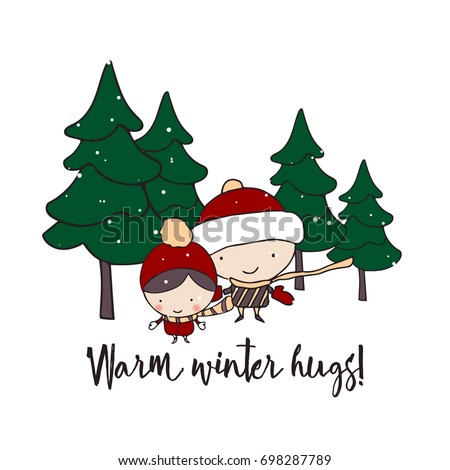 Minimalist season greeting cards hand drawn stock vector royalty minimalist season greeting cards with hand drawn cartoon characters in a snowy fir tree forest m4hsunfo