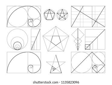 Minimalist set of designed geometric figures in frame with law of golden ratio isolated on white background