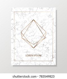 Minimalist silver marble background with copper geometric shape.