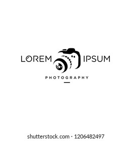 Minimalist Simple Modern Camera Photography Logo Design Vector