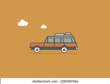 Minimalist station wagon flat vector illustration.