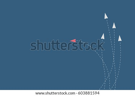 Minimalist stile red airplane