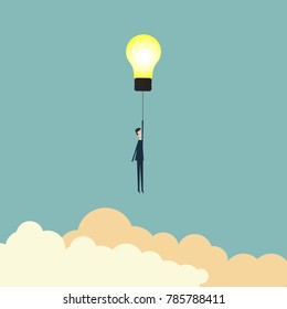 Minimalist stile.business finance. Think Successful vision concept with icon of Businessman flying with lightbulb. Eps10 vector illustration, Symbol leadership, strategy, mission, objectives.