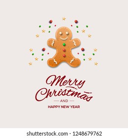 Minimalist style Christmas greeting Card with gingerbread man and calligraphic inscription, vector illustration.