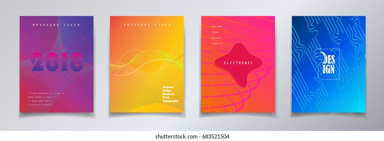 Minimalist style cover design set. Abstract brochure cover layout graphic concept. Vector perfect gradient, business presentation. Instagram Minimal design poster. Yellow, Red, Blue, Violet color 2018