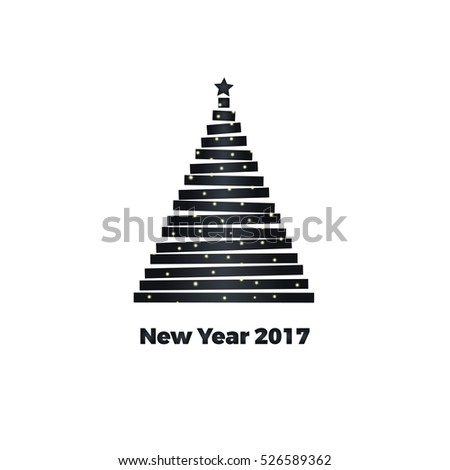 minimalist style greeting card new year 2017 vector illustration
