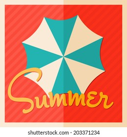 Minimalist style summer design poster with umbrella seen from above.
