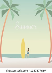 minimalist summer design, poster size, with trend colors, for decoration, printing and others.