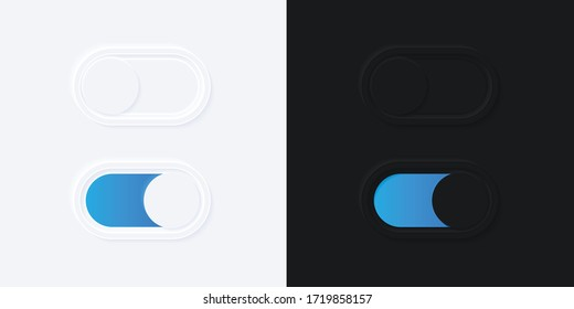 Minimalist Switch Button in Neumorphism Design. White and Black. Simple, modern and elegant. Smooth & soft 3D user interface. Light mode and Dark Mode. For website or apps design. Vector Illustration.
