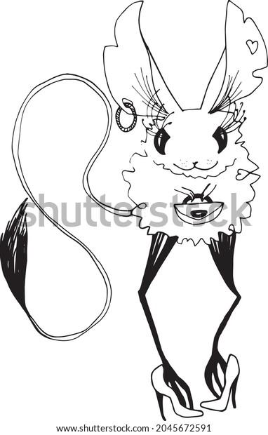 Minimalist tattoo style animal black and white line art illustration