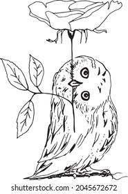 Minimalist tattoo style owl black and white line art illustration