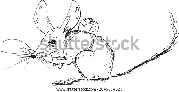 Minimalist tattoo style rat with backpack black and white line art illustration