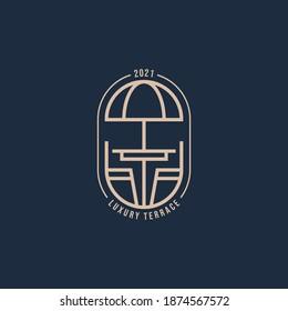 minimalist terrace luxury line art logo template vector illustration design