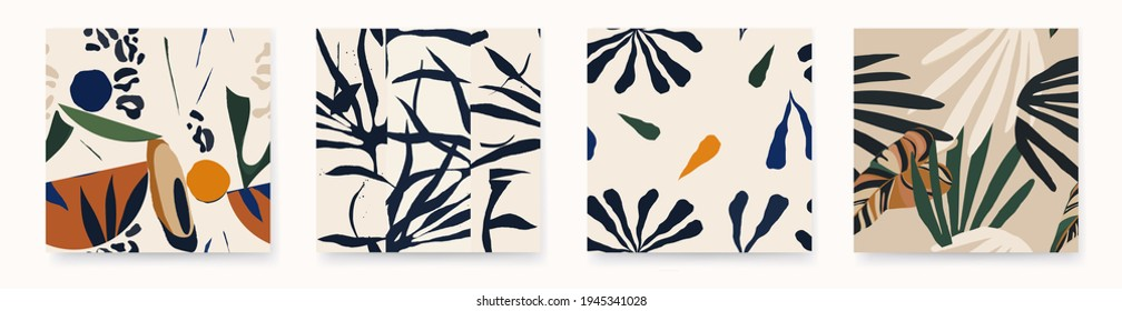 Minimalist trendy abstract pattern set with plants. Fashionable template for design. Modern style.  - Shutterstock ID 1945341028