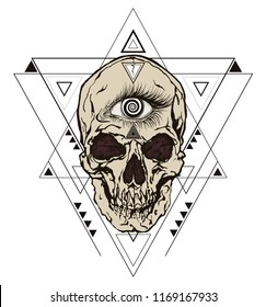 Minimalist triangle abstract geometric design with inside a skull with hypnotic masonic eye. Vector illustration in the style of modern tattoos.
