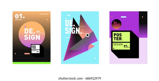 Minimalist Vector covers design Set. Cool geometric gradients shape. Futuristic Poster template.