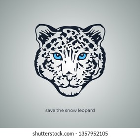 minimalist vector emblem in the form of a snow leopard head made in 2 colors