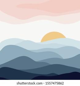 minimalist vector illustration of calm indigo mountain hills sunset nature landscape