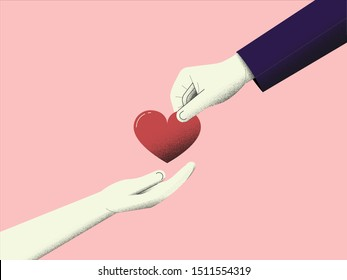 Minimalist vector illustration of charity, people hand giving and hand received love and donation.