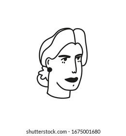 Minimalist vector portrait. Girl's portrait in profile. Depiction of women's face. Black and white line drawing.