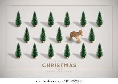 Minimalist Vintage Christmas postcard with plastic Christmas trees and wooden toy deer