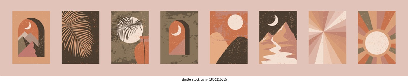 Minimalist wall art. Abstract landscapes for boho esthetic interior. Home decor wall prints. Burnt orange, terracotta colors, mustard hues. Sun and moon. Contemporary artistic printable EPS10 vector
