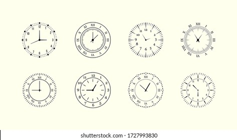 Minimalist watch, round clocks and watch face. Classic black and white round wall clock isolated on white. Apartment. Vector illustration, EPS 10.