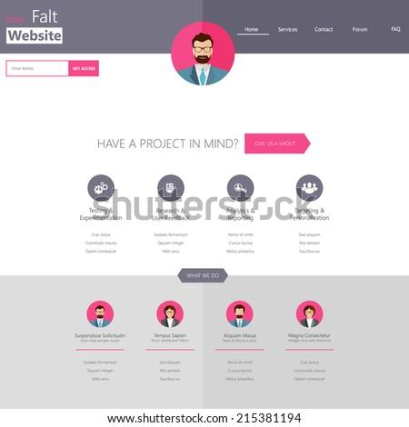 Minimalist Website Template Creative Flat Design Stock Vector