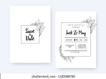Minimalist wedding invitation card template design, foliage line art ink drawing with square frame on white