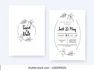 Minimalist wedding invitation card template design, foliage line art ink drawing with circle frame on white
