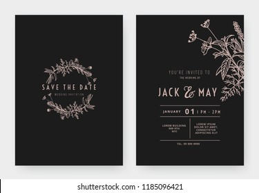 Minimalist wedding invitation card template design, circle floral wreath, line art ink drawing in pink and dark grey tones