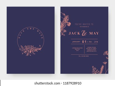 Minimalist wedding invitation card template design, circle floral wreath, line art ink drawing in red and purple tones